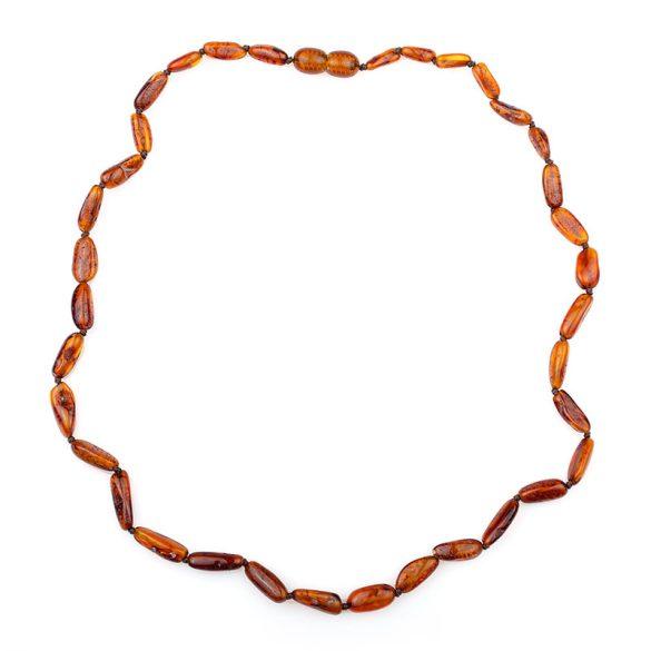 Borostyán nyaklánc, csiszolt, 8-16x6x5 mm babszem forma, konyak színű, 45 cm