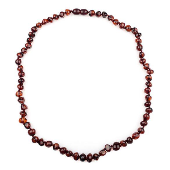 Borostyán nyaklánc matt, 4-7 mm, barokk forma, rubin színű, 45 cm