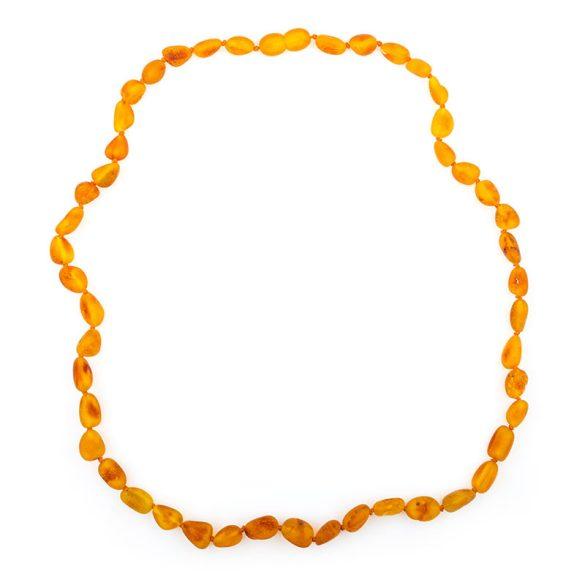 Borostyán nyaklánc, matt, 12x7x4-15x9x5 mm babszem forma, méz színű, 49 cm