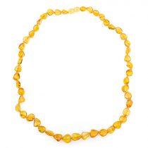 Borostyán nyaklánc, csiszolt, 10x7x5-11x10x4 mm, babszem forma, citrom színű, 50 cm