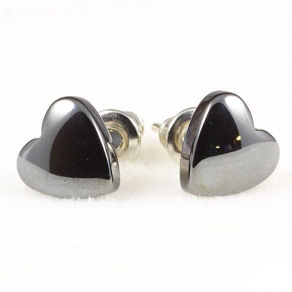 Cabochon fülbevaló, hematit, szív