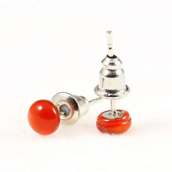 Cabochon fülbevaló, karneol, 5mm