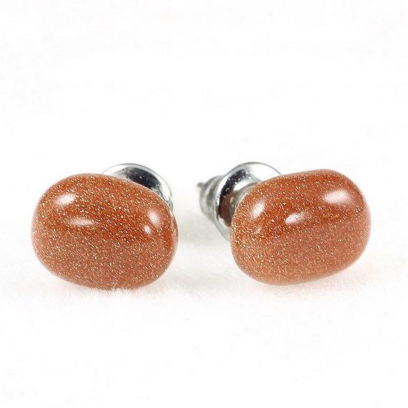 Cabochon fülbevaló, szintetikus napkő, barna, szt., 6x8 mm