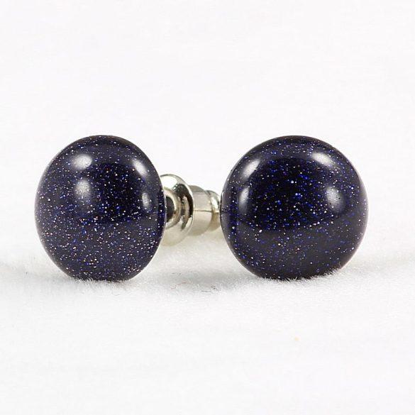 Cabochon fülbevaló, aranykő, kék, 10 mm