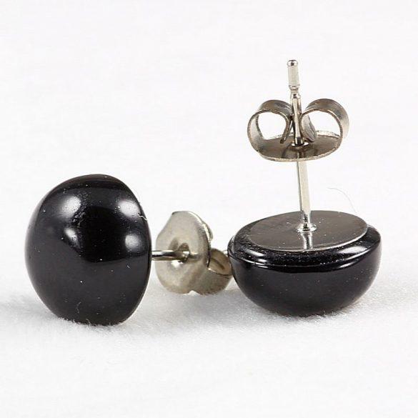 Cabochon fülbevaló, ónix, 10 mm