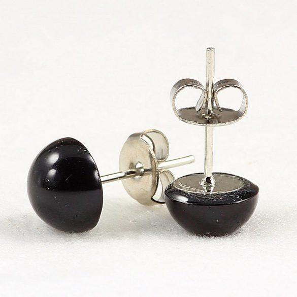 Cabochon fülbevaló, ónix, 8 mm