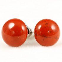Cabochon fülbevaló, piros jáspis, 10 mm