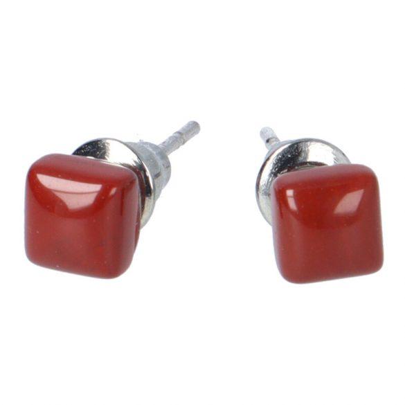 Cabochon fülbevaló, piros jáspis, 5x5 mm
