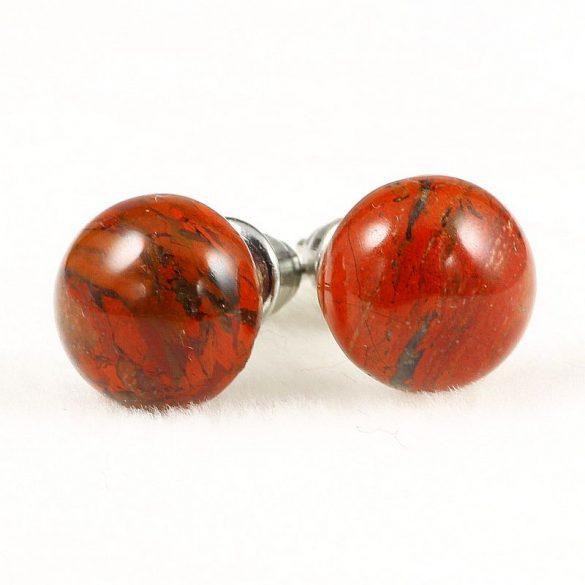 Cabochon fülbevaló, piros jáspis, 8 mm