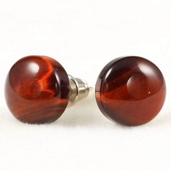 Cabochon fülbevaló, piros tigrisszem, 10 mm