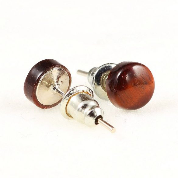 Cabochon fülbevaló, piros tigrisszem, 6 mm
