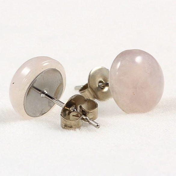 Cabochon fülbevaló, rózsakvarc, 10 mm
