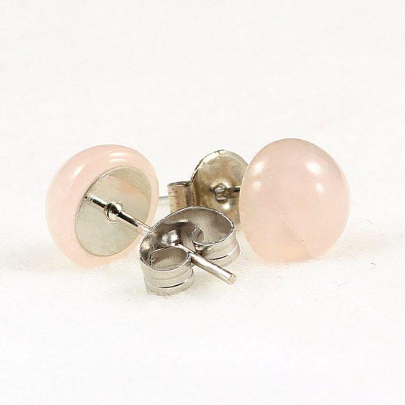 Cabochon fülbevaló, rózsakvarc, 8 mm