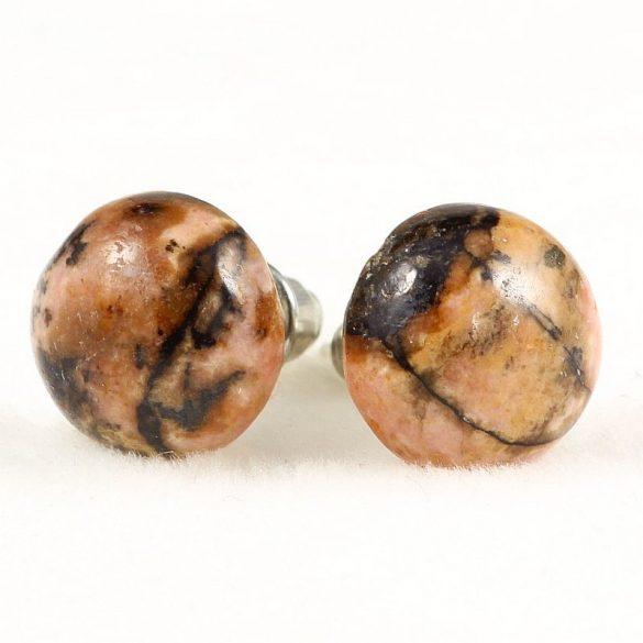 Cabochon fülbevaló, rodonit, 10 mm