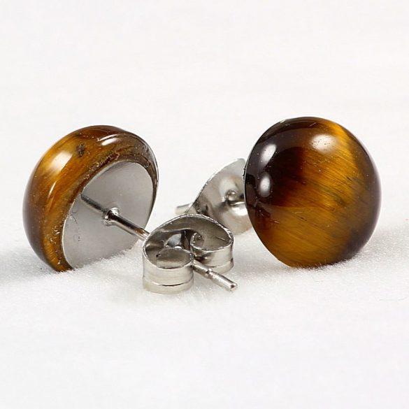 Cabochon fülbevaló, tigrisszem, 10 mm