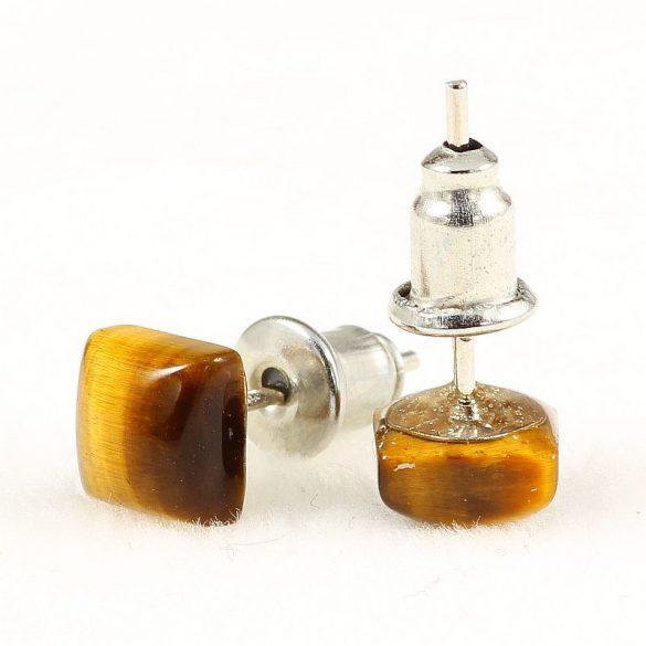 Cabochon fülbevaló, tigrisszem, 6x6 mm