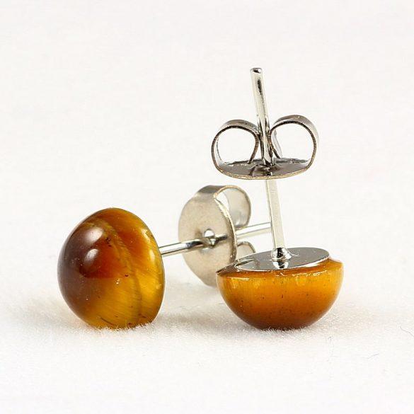 Cabochon fülbevaló, tigrisszem, 8 mm