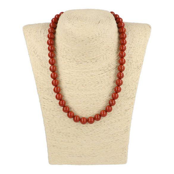 Piros jáspis, golyós, 10 mm, 45 cm-es nyaklánc