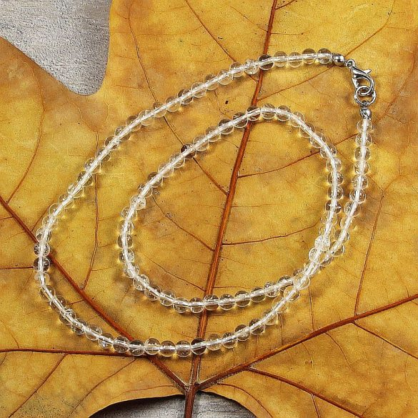 Hegyikristály, golyós, 4 mm, 45 cm-es nyaklánc