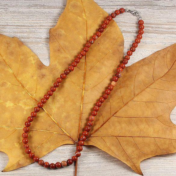 Piros jáspis, golyós, 6 mm, 45 cm-es nyaklánc