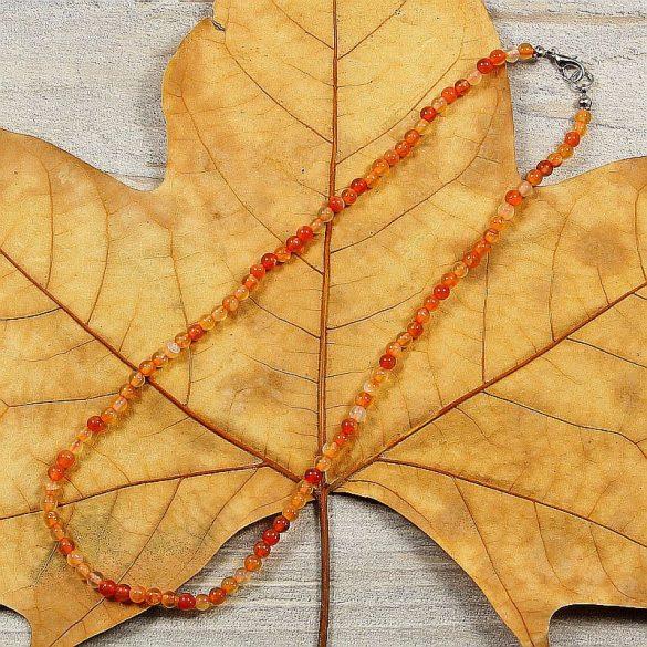 Karneol, golyós, 4 mm, 40 cm-es nyaklánc