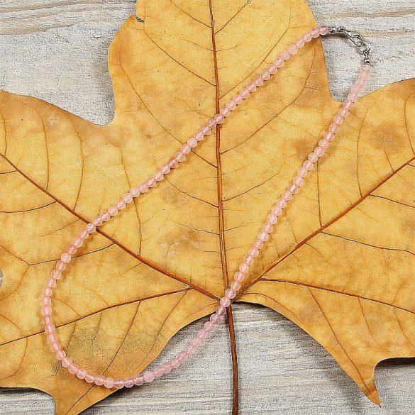 Rózsakvarc, golyós, 4 mm, 40 cm-es nyaklánc