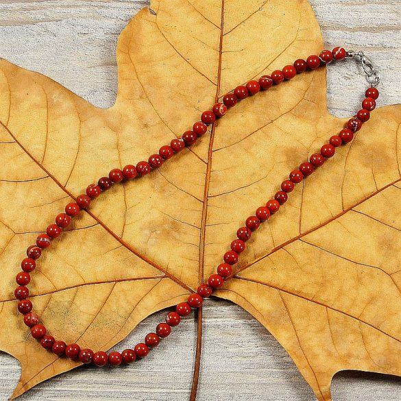 Piros jáspis, golyós, 6 mm, 40 cm-es nyaklánc