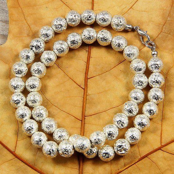 Lávakő, golyós, ezüst (2), 8 mm, 40 cm-es nyaklánc