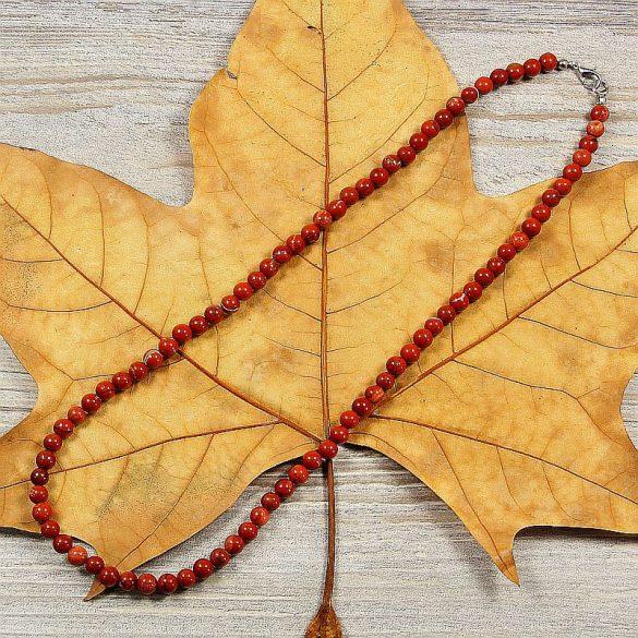 Piros jáspis, golyós, 6 mm, 50 cm-es nyaklánc