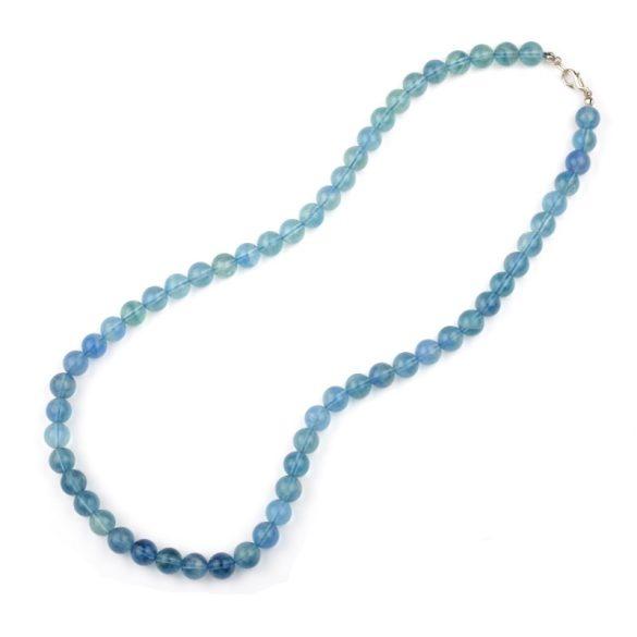 Fluorit, kék, golyós, 8 mm, 50 cm-es nyaklánc