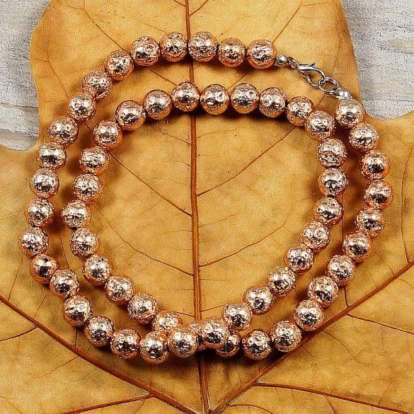 Lávakő, golyós, rosegold, 8 mm, 50 cm-es nyaklánc