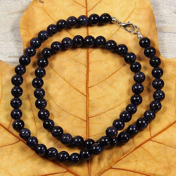 Aranykő, kék, golyós, 8 mm, 50 cm-es nyaklánc