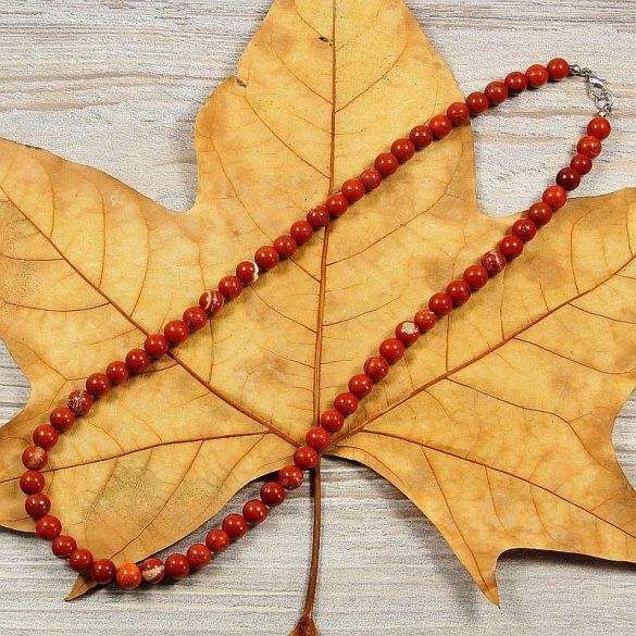 Piros jáspis, golyós, 8 mm, 50 cm-es nyaklánc