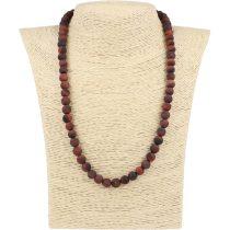 Piros tigrisszem, matt, golyós, 8 mm, 50 cm-es nyaklánc