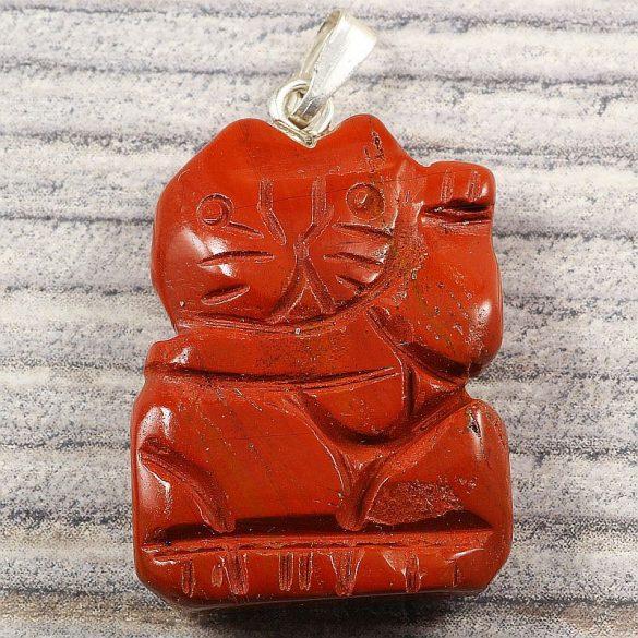 Integetős cica medál, piros jáspis