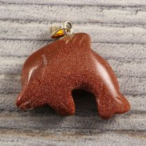 Delfin medál, aranykő, barna