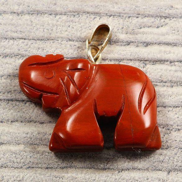 Figura, elefánt, piros jáspis
