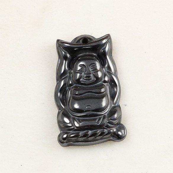Hematit Buddha medál, lapos (hasas)