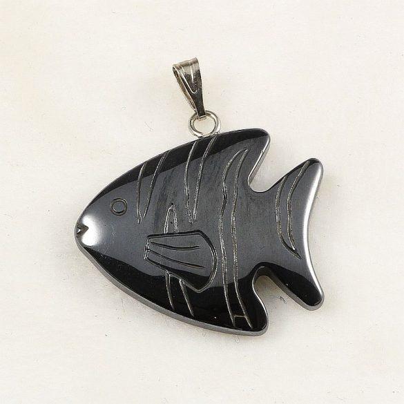 Hematit hal medál, csíkos