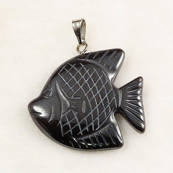 Hematit hal medál, kockás