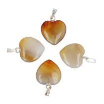 Szív medál, achát, 15 mm