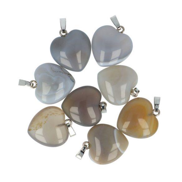 Szív medál, achát, 20 mm