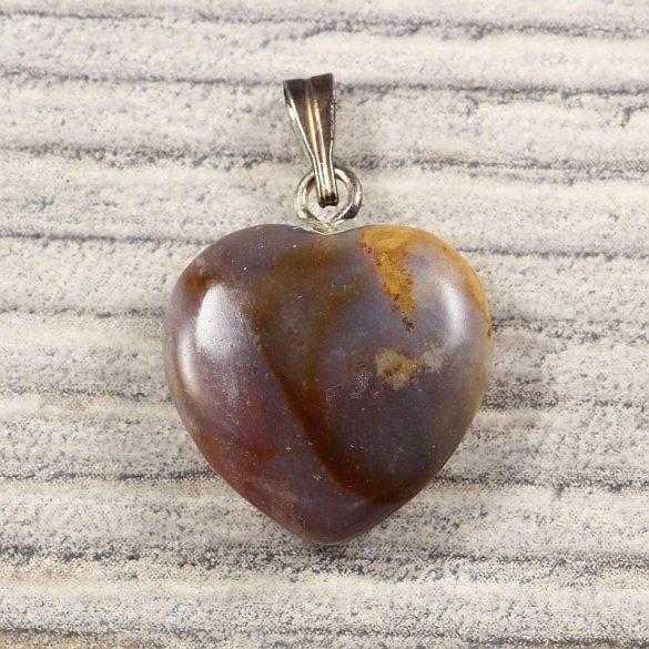 Szív medál, indiaachát, 15 mm