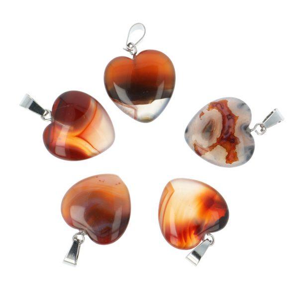 Szív, karneol, 20 mm