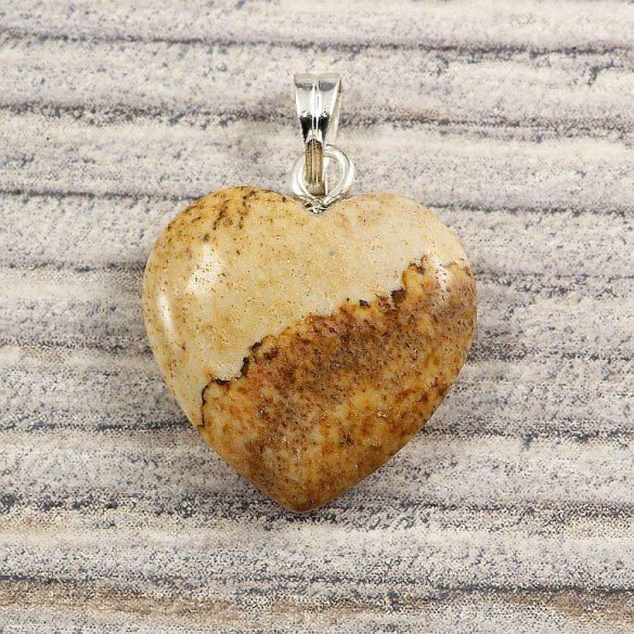Szív medál, képjáspis, 15 mm