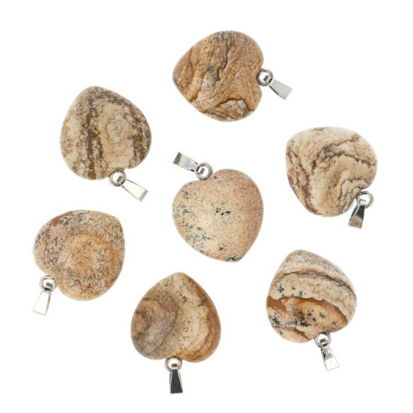 Szív medál, képjáspis, 20 mm