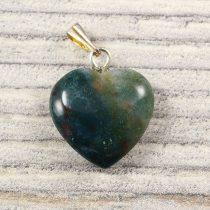 Szív medál, mohaachát, 15 mm
