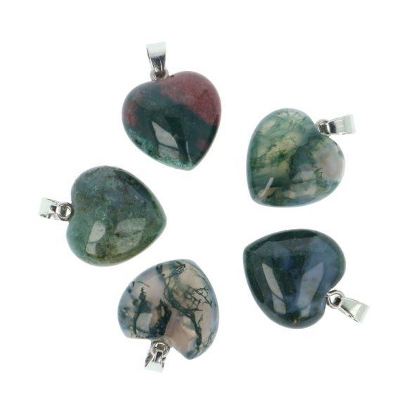 Szív medál, mohaachát, 20 mm