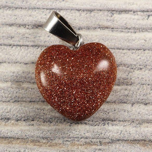 Szív medál, aranykő, barna, 15 mm