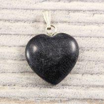 Szív medál, ónix, 15 mm